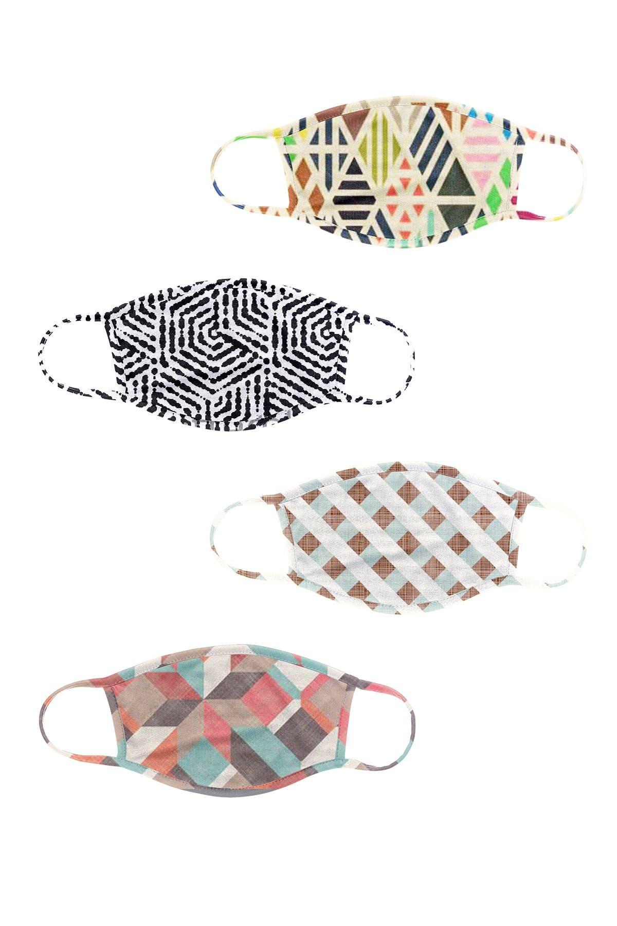 Image of Posh Mask Printed Adult Face Masks - Set of 4