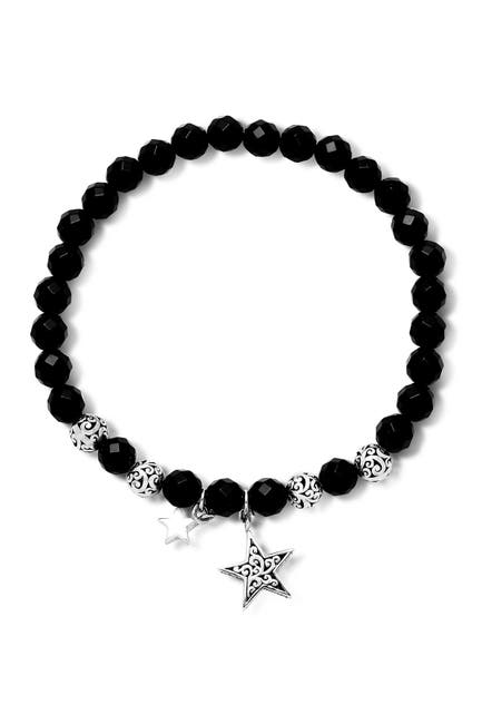 Image of Lois Hill Sterling Silver 6mm Onyx Stretch Star Bracelet