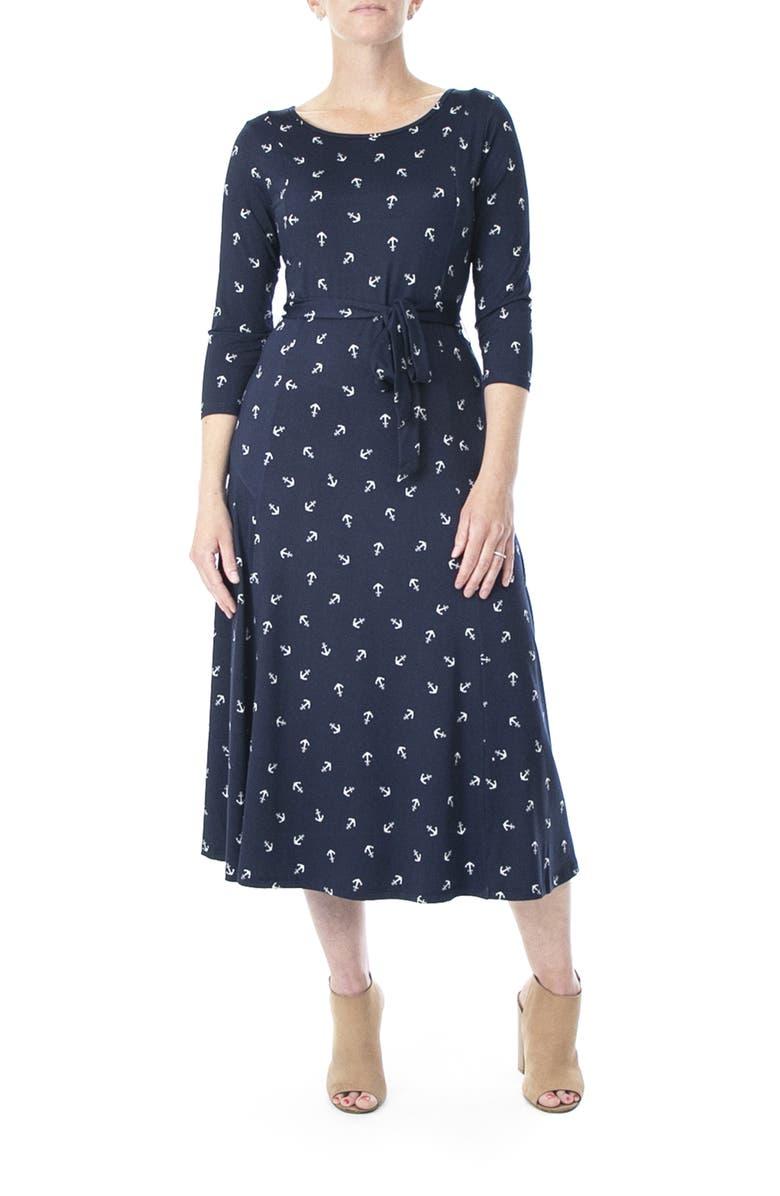 NINA LEONARD Crew Neck 3/4 Length Sleeve Midi Dress, Main, color, NAVY/ WHITE MULTI