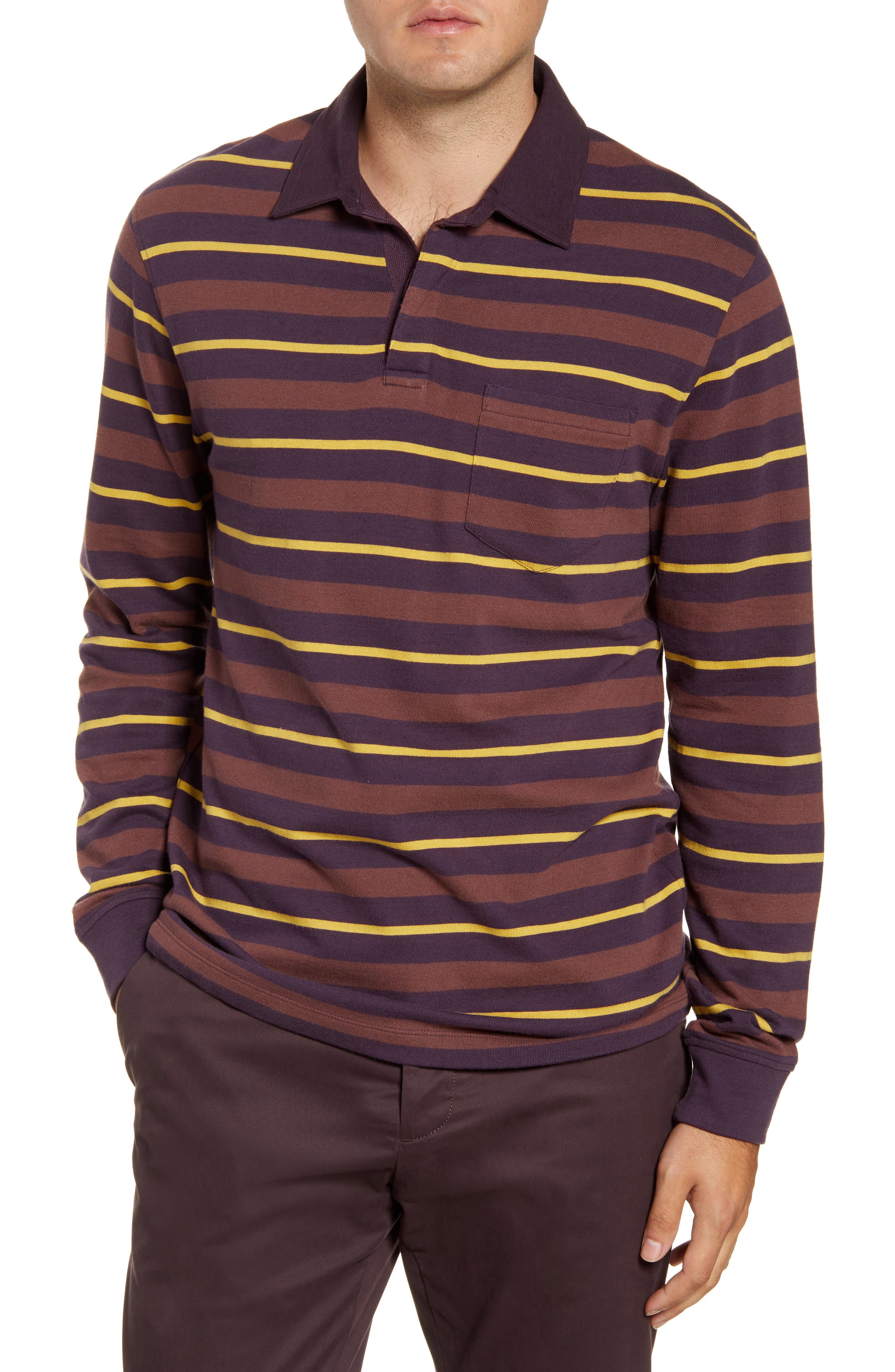1960s Mens Shirts | 60s Mod Shirts, Hippie Shirts Mens French Connection Rugby Stripe Long Sleeve Pocket Polo Size X-Small - Purple $52.80 AT vintagedancer.com