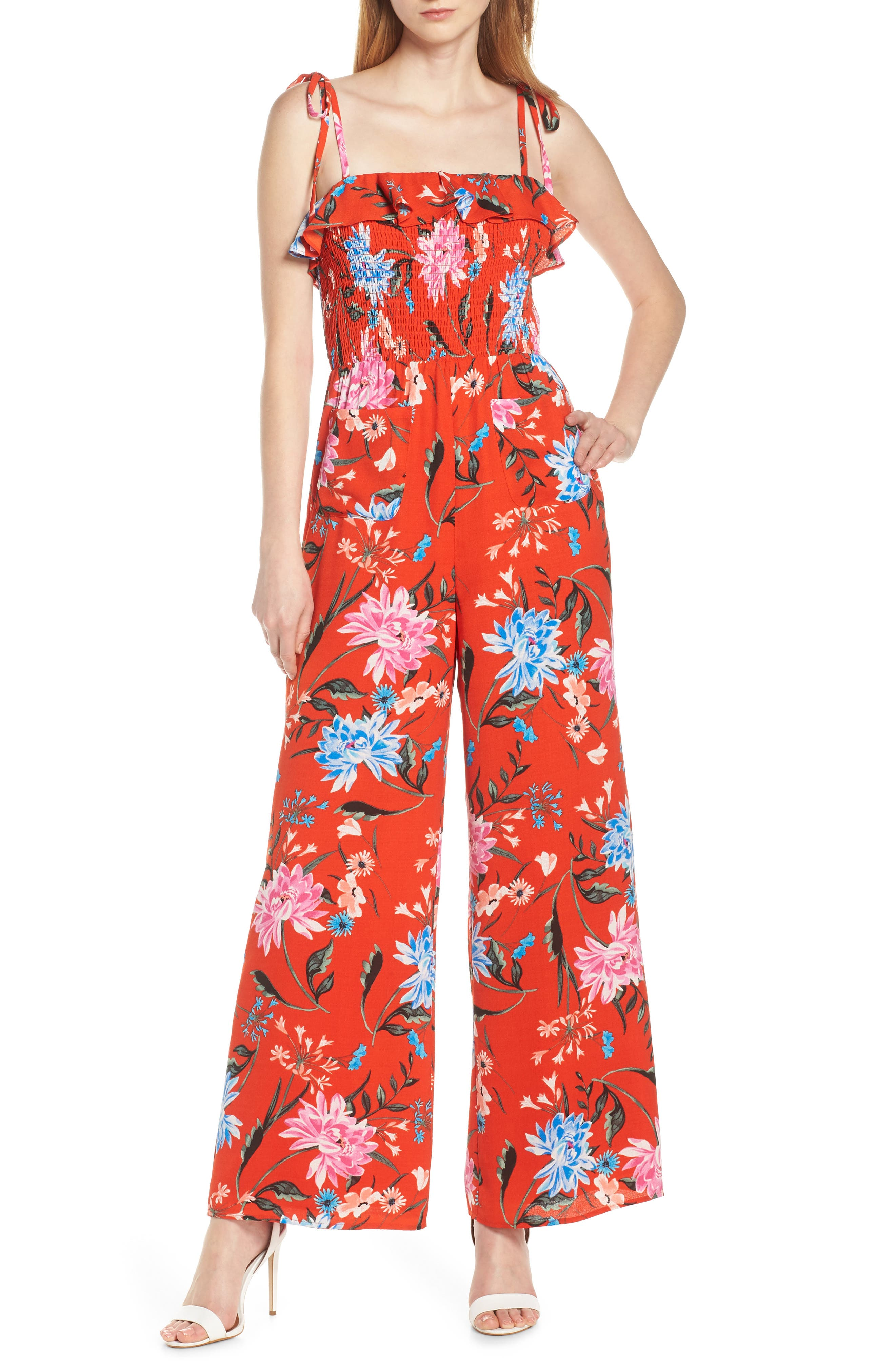 Ali & Jay Sangria Strapless Jumpsuit, Red