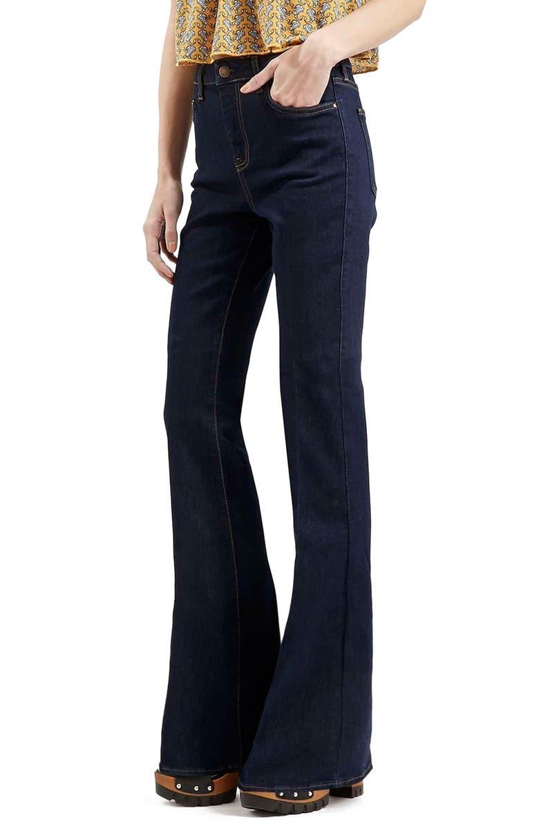 TOPSHOP Moto Flare Jeans, Main, color, 410