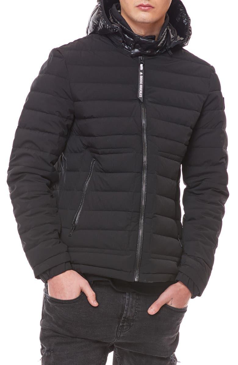 MOOSE KNUCKLES Black Rock Down Jacket, Main, color, BLACK