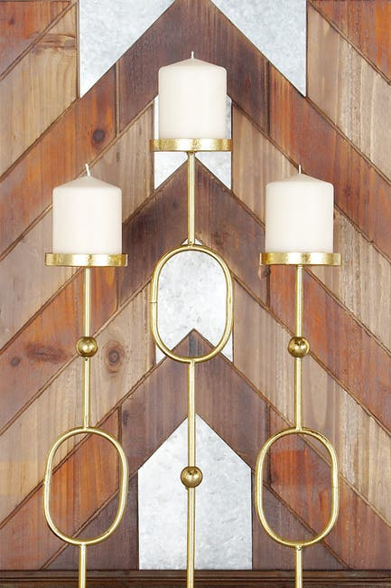 Image of CosmoLiving by Cosmopolitan Contemporary Gold Iron Ovals & Beads Three-Light Candle Holder