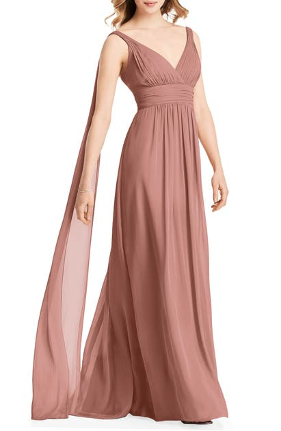 Jenny Packham Streamer Back Chiffon Gown In Desert Rose