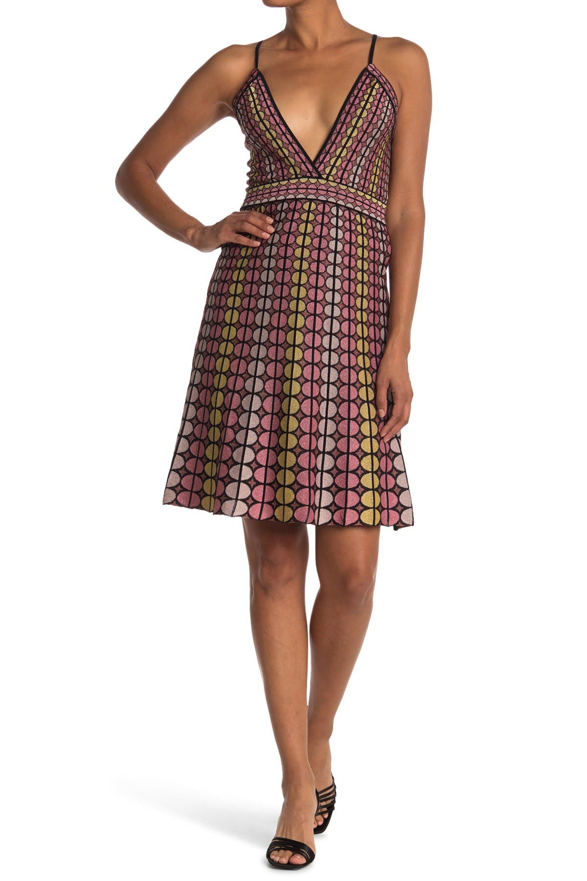 Image of M Missoni Plunge Neck Patterned Dress