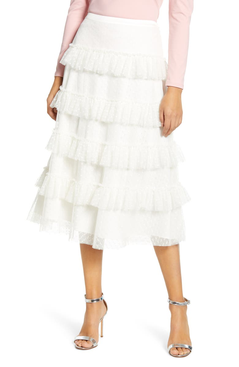 RACHEL PARCELL Tiered Dot Mesh Skirt, Main, color, IVORY CLOUD