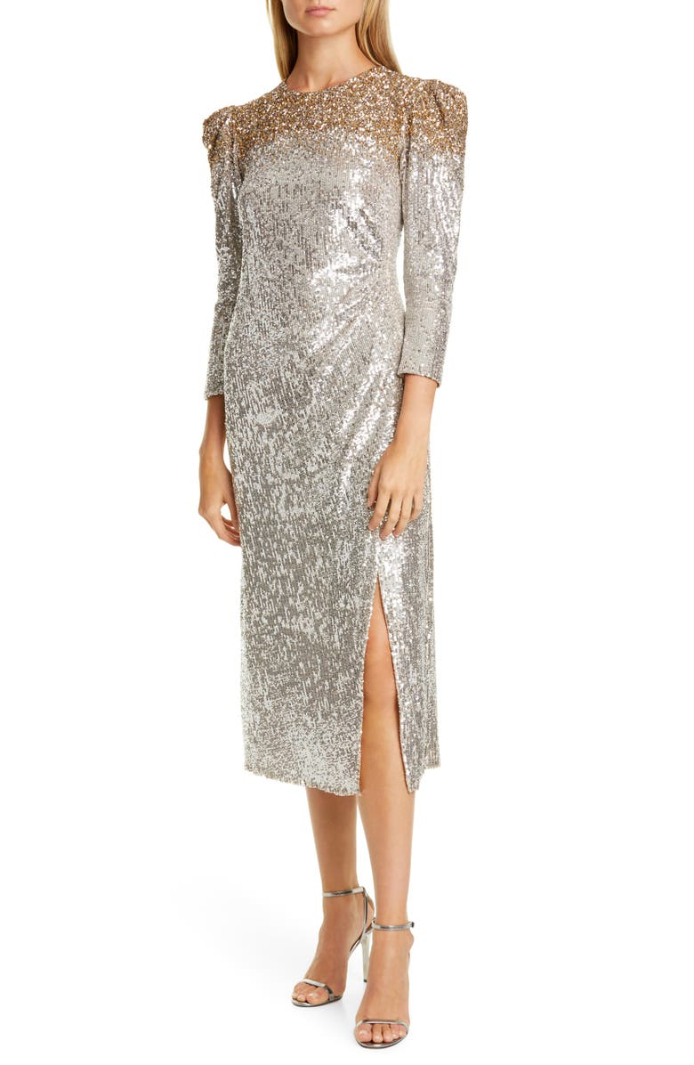 SACHIN & BABI Ombré Sequin Cocktail Dress, Main, color, SILVER/ GOLD