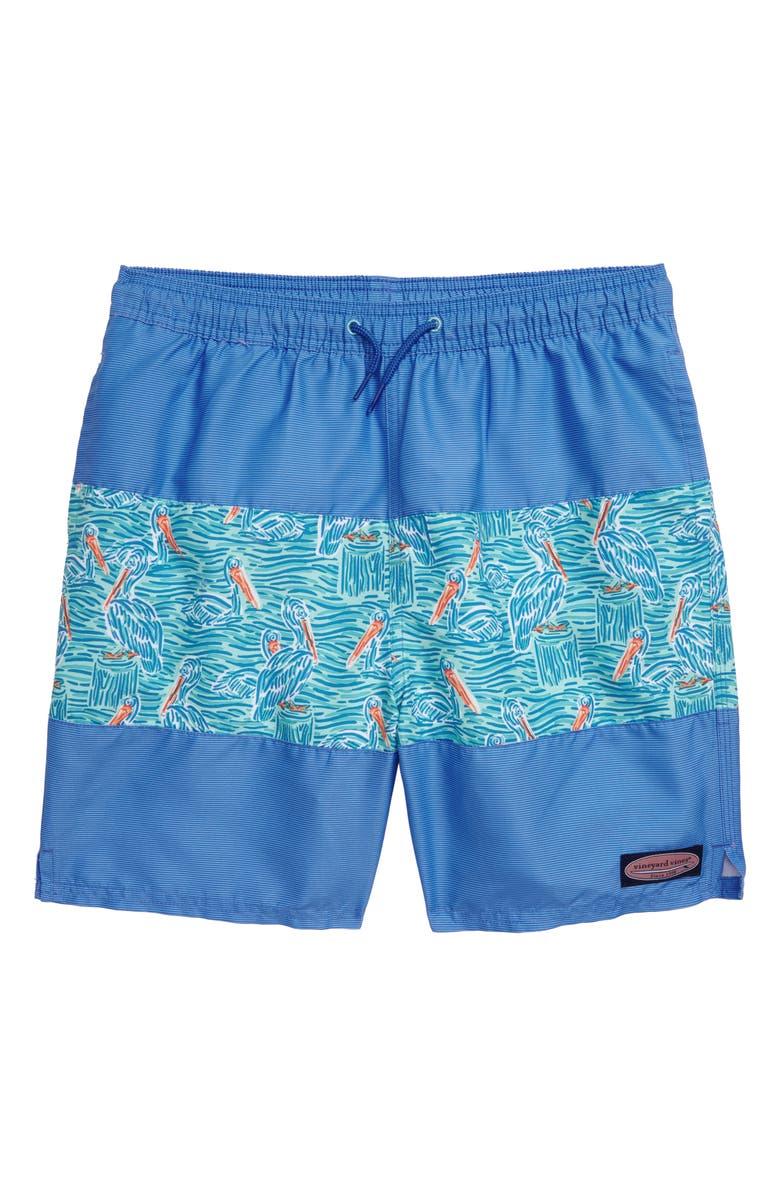 VINEYARD VINES Pelican Print Pieced Chappy Swim Trunks, Main, color, BLUE MIST