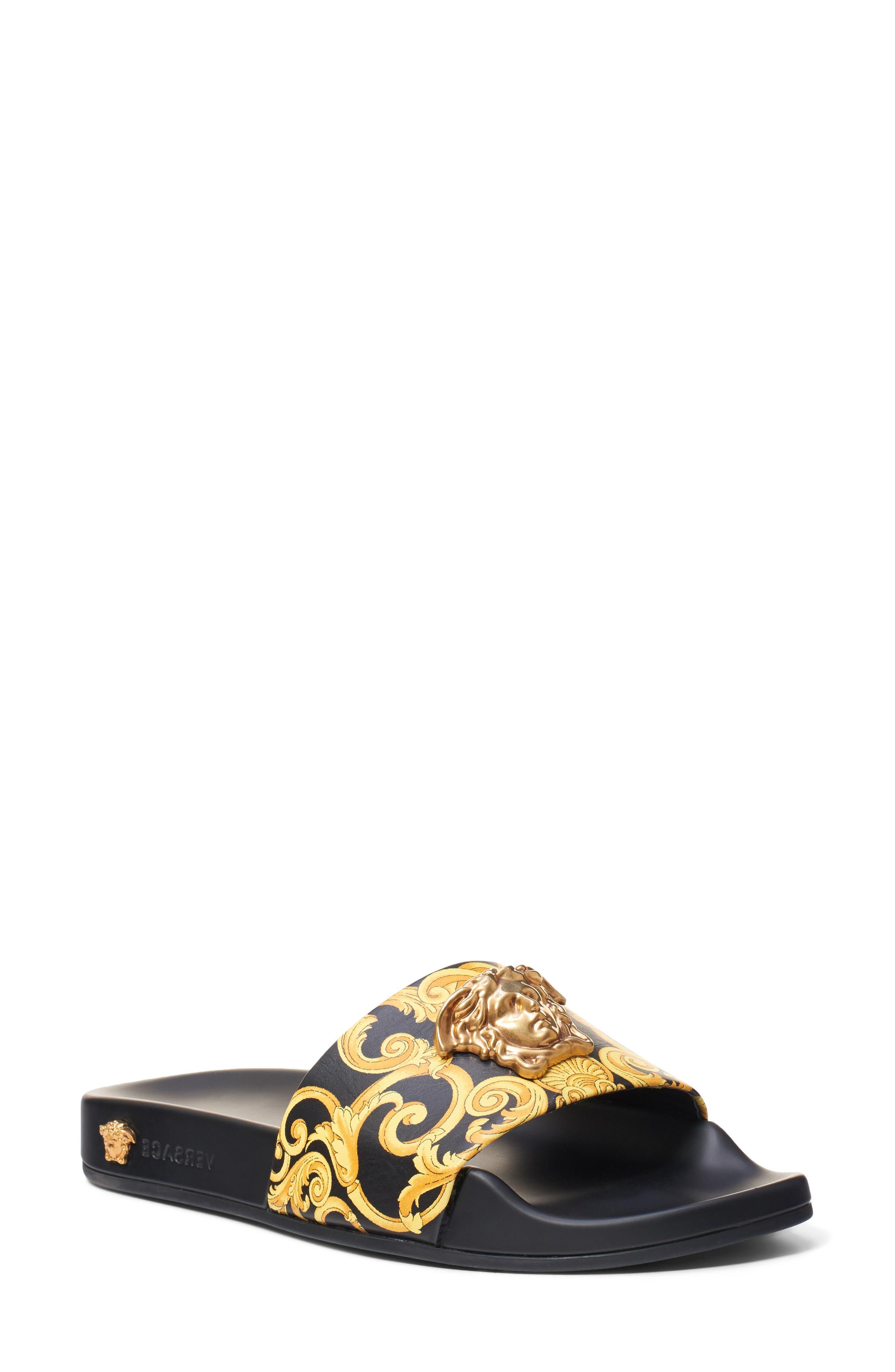 Versace First Line Medusa Hibiscus Slide Sandal, Black