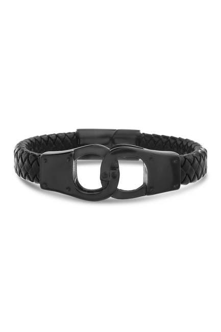 Image of Steve Madden Black IP Stainless Steel Interlock Design Black Leather Braided Chain Bracelet