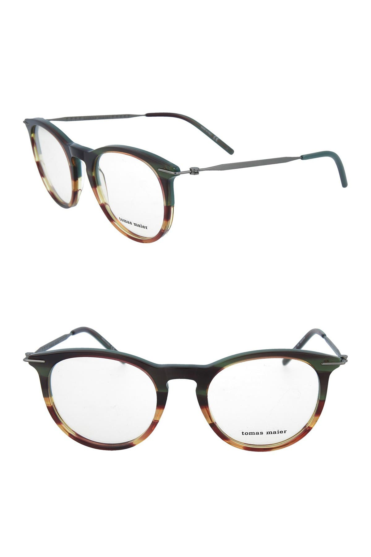 Image of Tomas Maier 50mm Acetate Metal Round Optical Frames