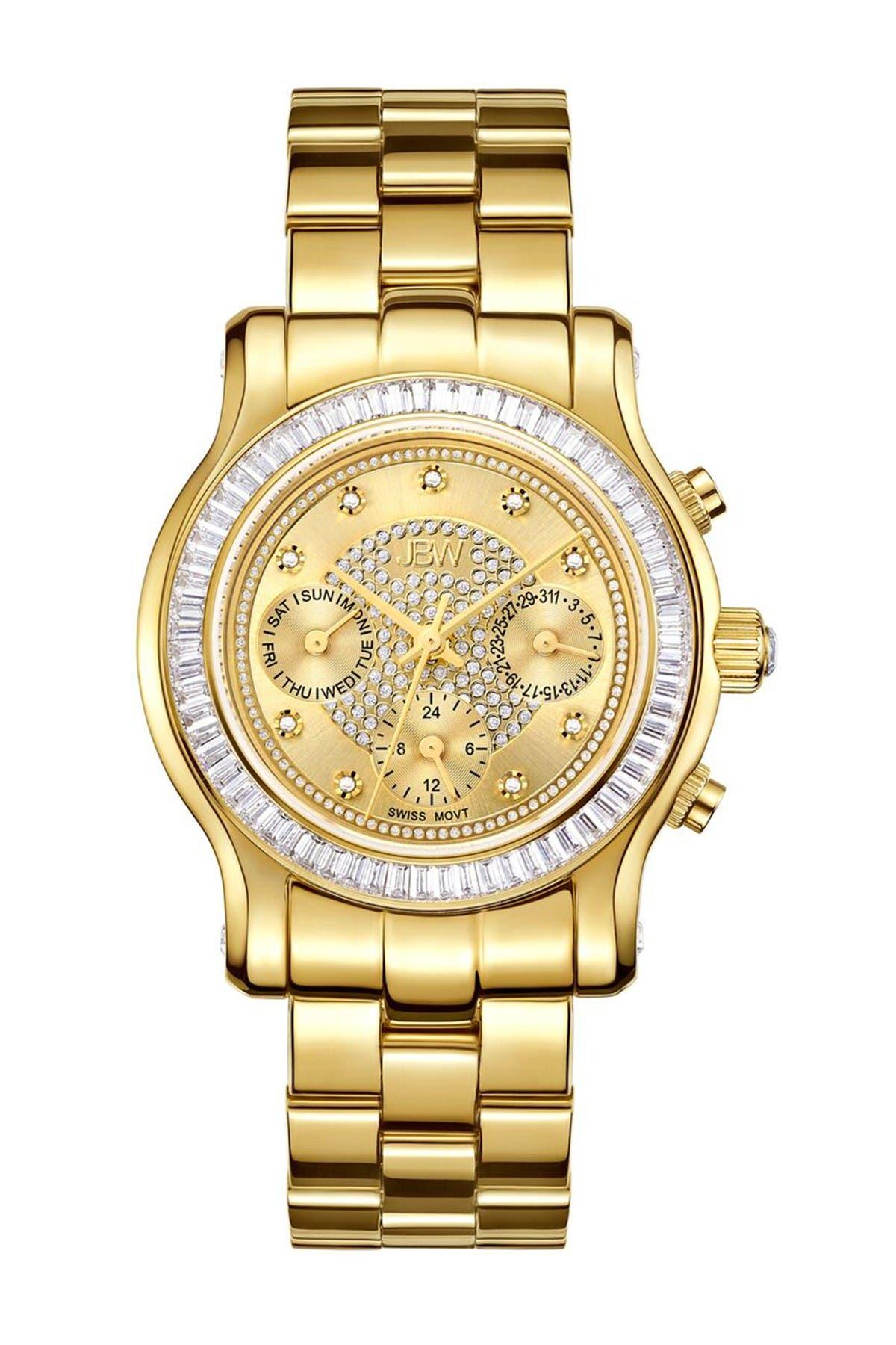 Image of JBW Women's Laurel 18K Gold Plated Stainless Steel Diamond Bracelet Watch, 38mm - 0.09 ctw