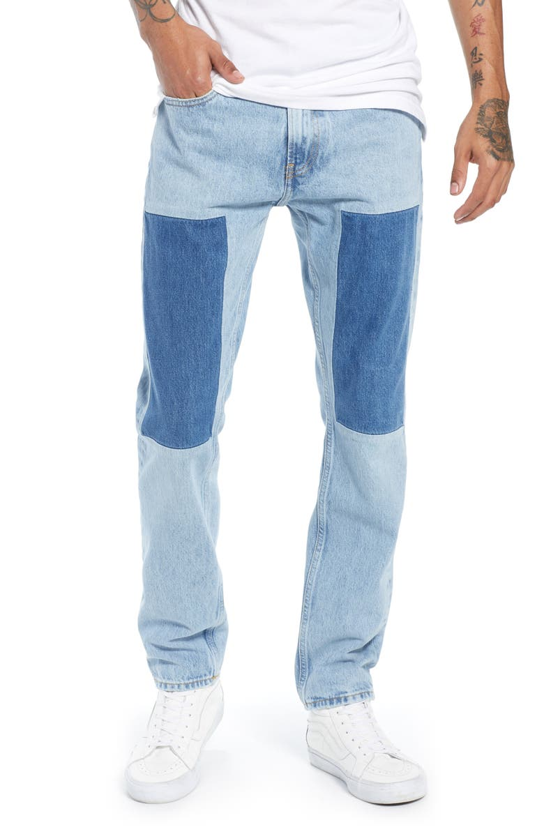 CALVIN KLEIN JEANS Slim Fit Patched Jeans, Main, color, 400