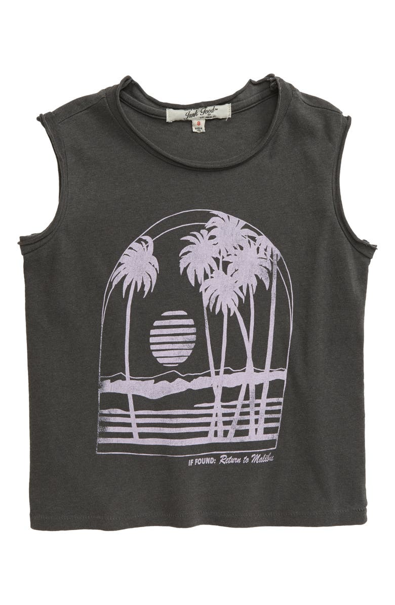 JUNK FOOD Return to Malibu Tee, Main, color, VINTAGE BLACK