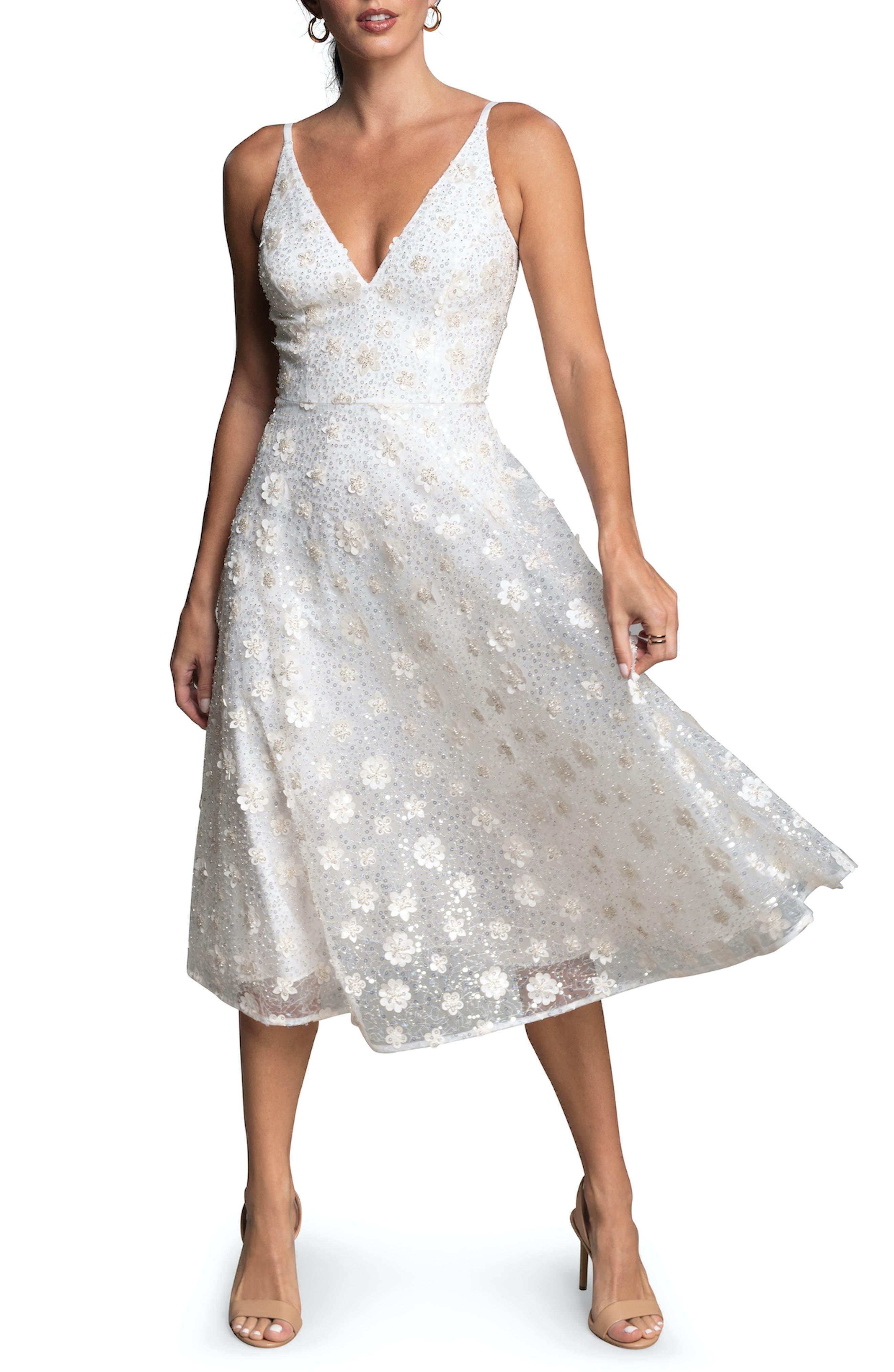 Elisa Floral Applique Sequin Fit & Flare Dress