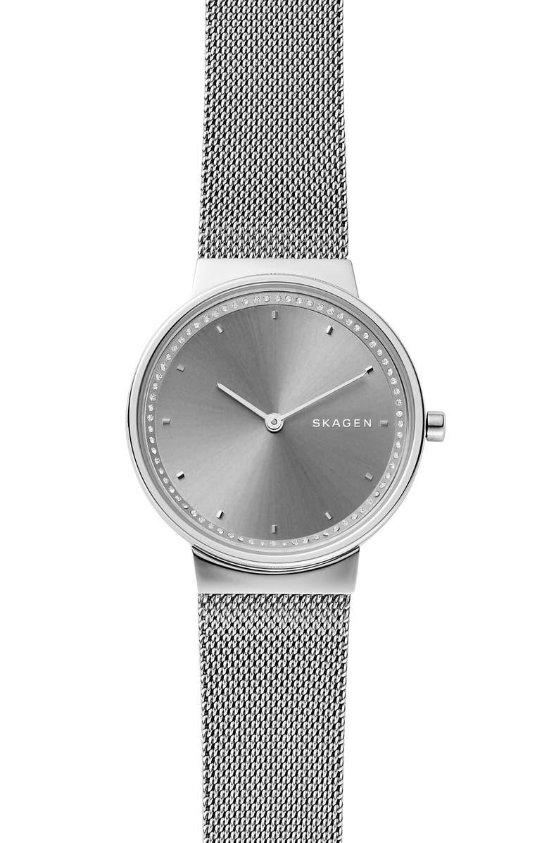 SKAGEN Annelie Mesh Bracelet Watch, 34mm, Main, color, 040