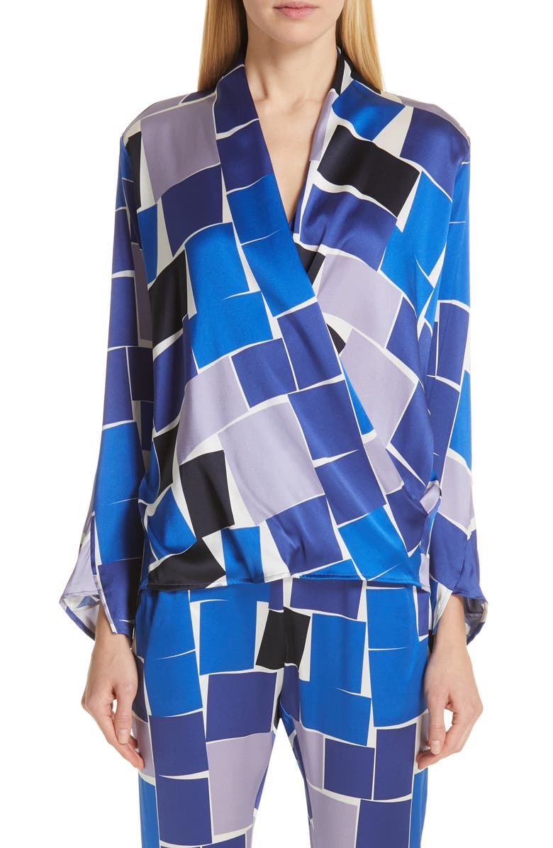 ZERO + MARIA CORNEJO Jazmin Print Stretch Silk Shirt, Main, color, 400