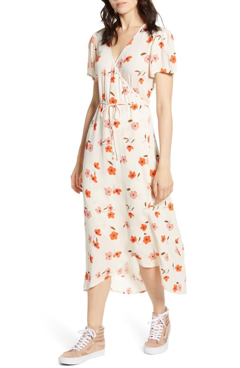 BILLABONG Floral Fields Midi Dress, Main, color, WHISPER