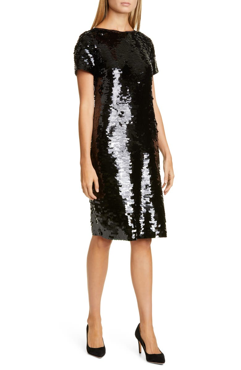 LAFAYETTE 148 NEW YORK Cassia Sequin Cocktail Dress, Main, color, BLACK