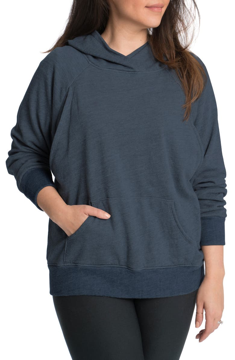 BUN MATERNITY Relax Daily Maternity/Nursing Hoodie, Main, color, DUSTY INDIGO