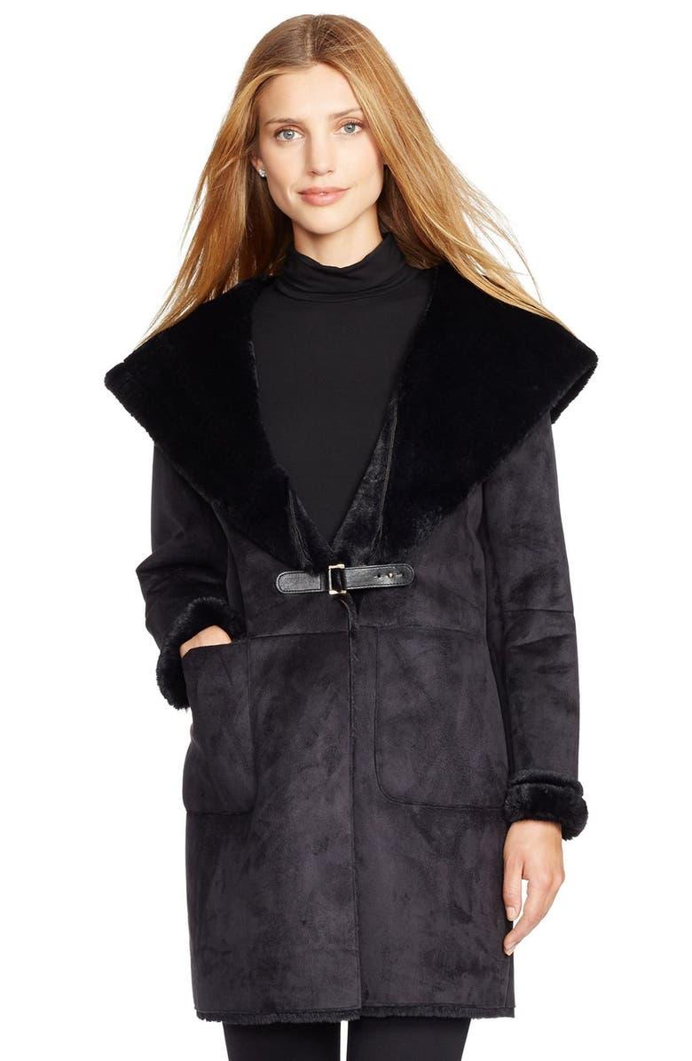 LAUREN RALPH LAUREN Hooded Faux Shearling Drape Front Coat, Main, color, 001