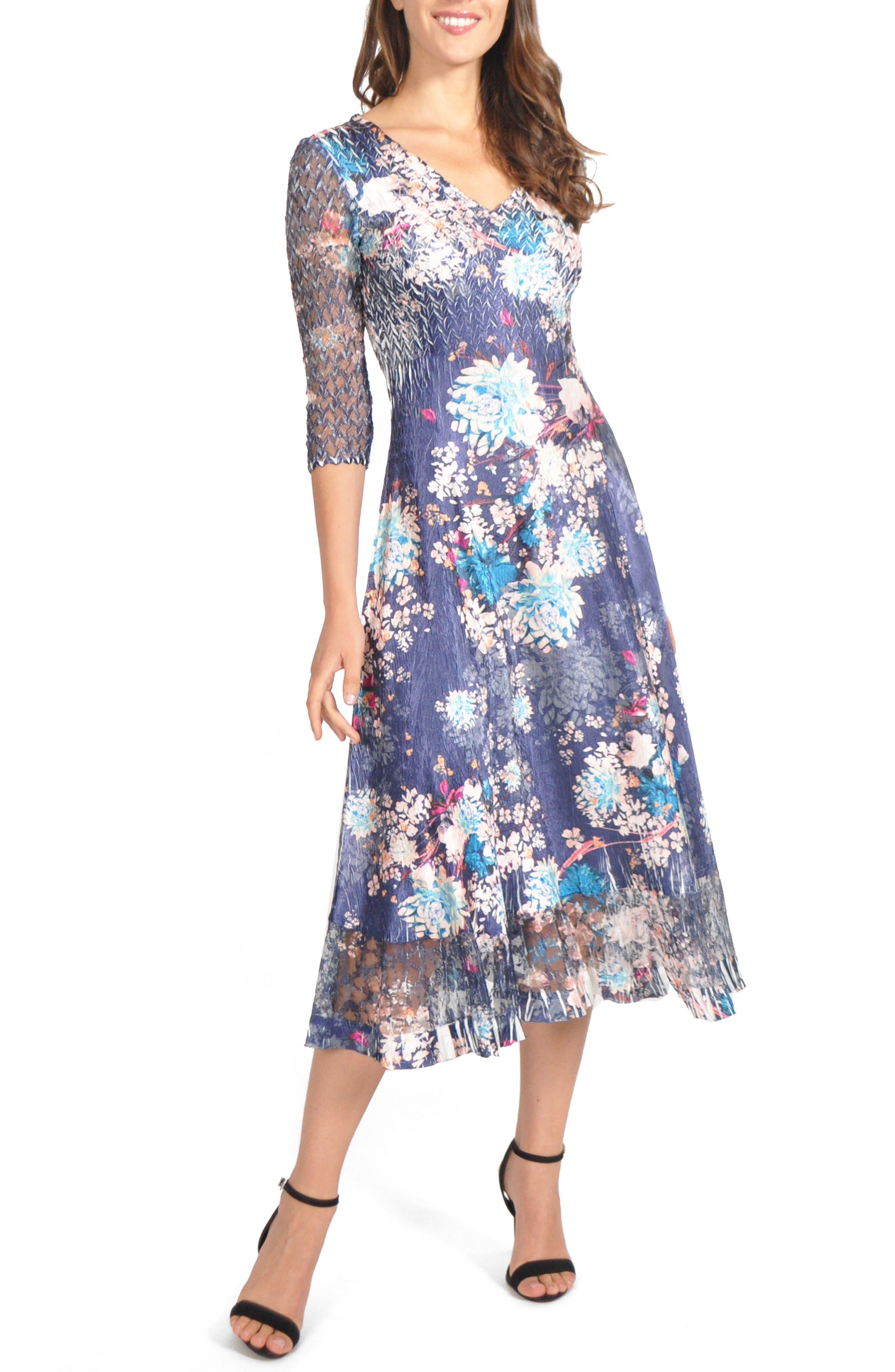 Petite Komarov Charmeuse & Chiffon Midi Dress, Blue