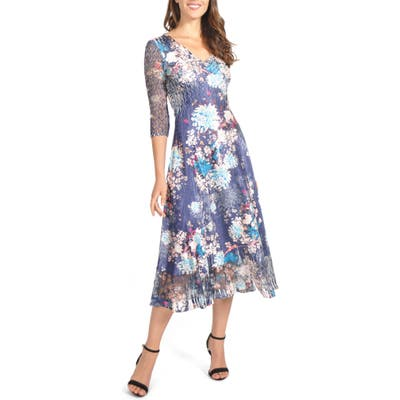 Komarov Charmeuse & Chiffon Midi Dress, Blue