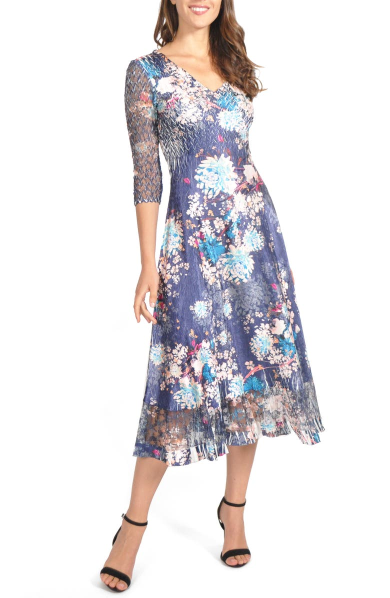 KOMAROV Charmeuse & Chiffon Midi Dress, Main, color, CELESTIAL MEADOW