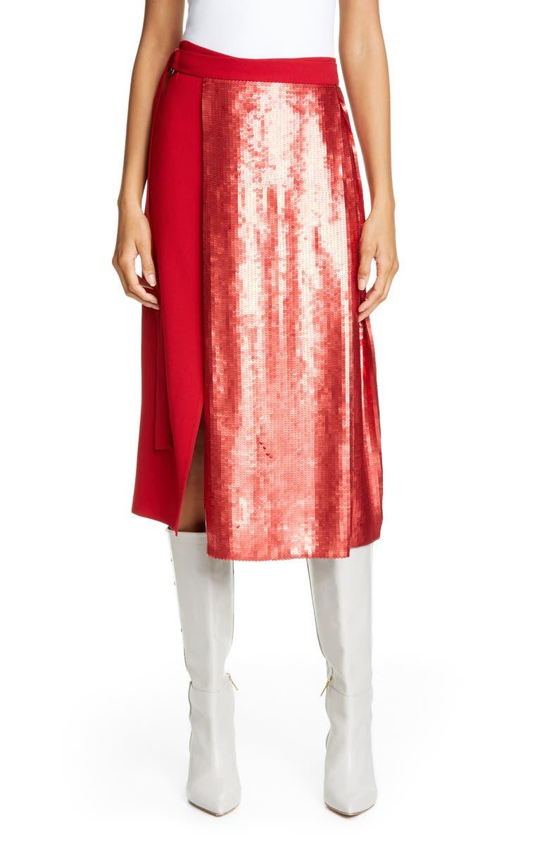 TIBI Sequin Panel Skirt, Main, color, BRICK RED