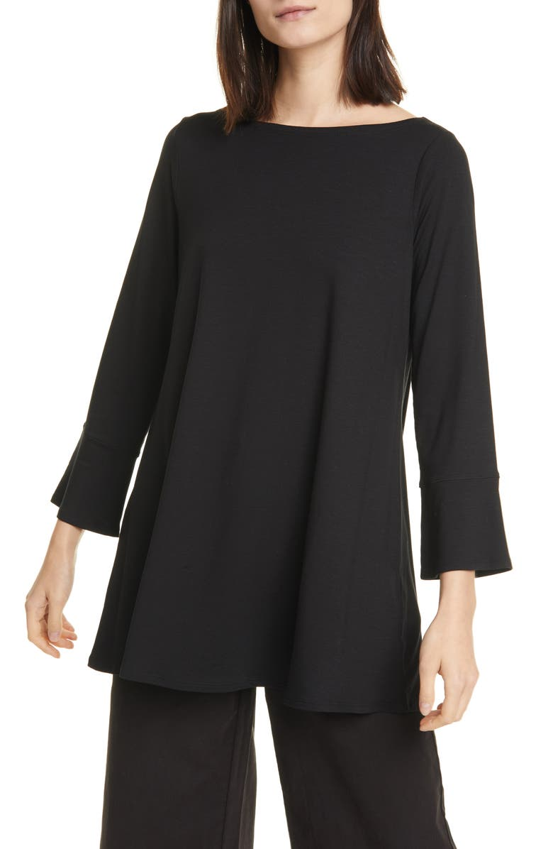 EILEEN FISHER Bell Cuff Tunic, Main, color, 001