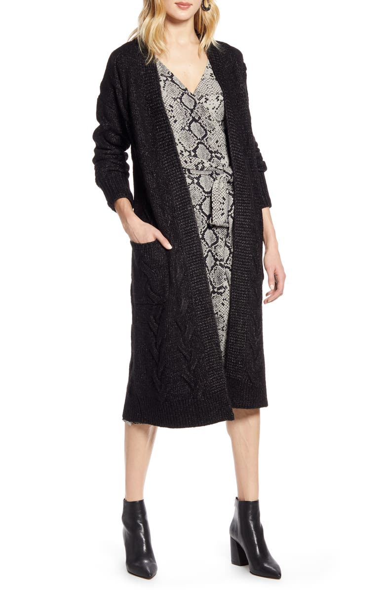 HALOGEN<SUP>®</SUP> Cable Knit Long Cardigan, Main, color, BLACK