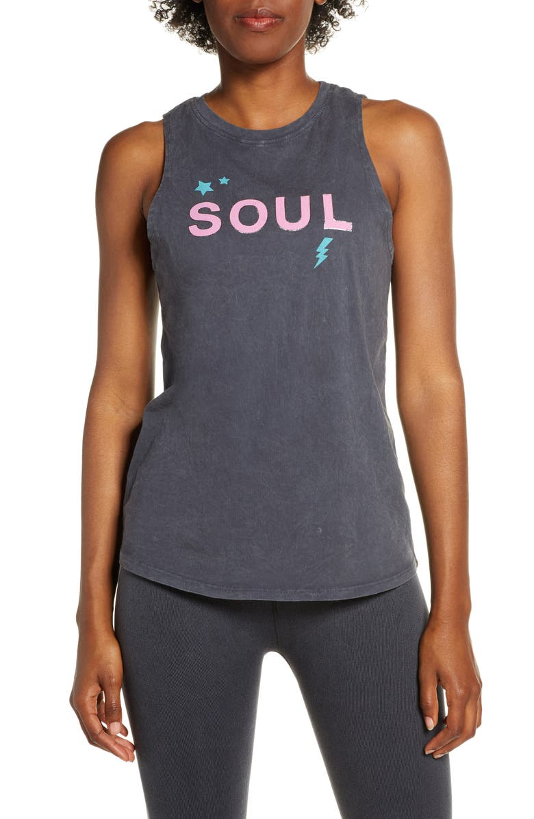 SOUL BY SOULCYCLE Soul Lightning Bolt Tank, Main, color, CHARCOAL