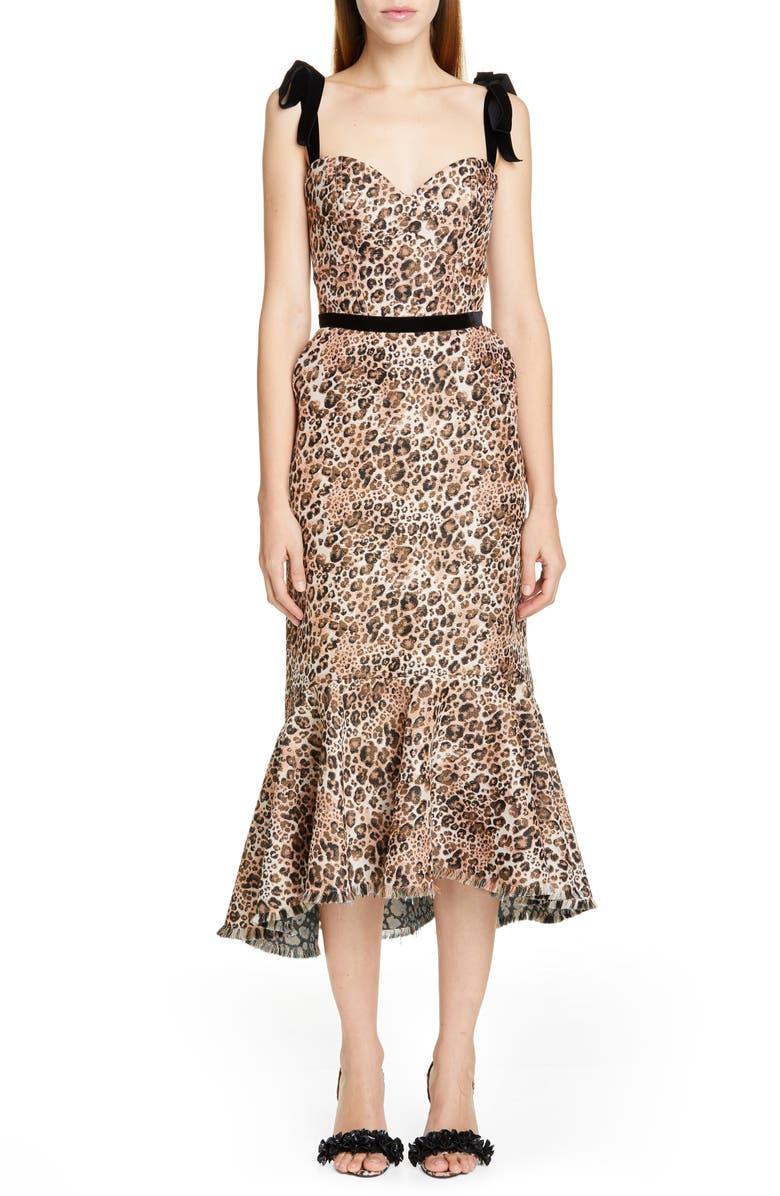 JOHANNA ORTIZ Jaguar Print Tie Strap Midi Dress, Main, color, LEOPARD BLUSH