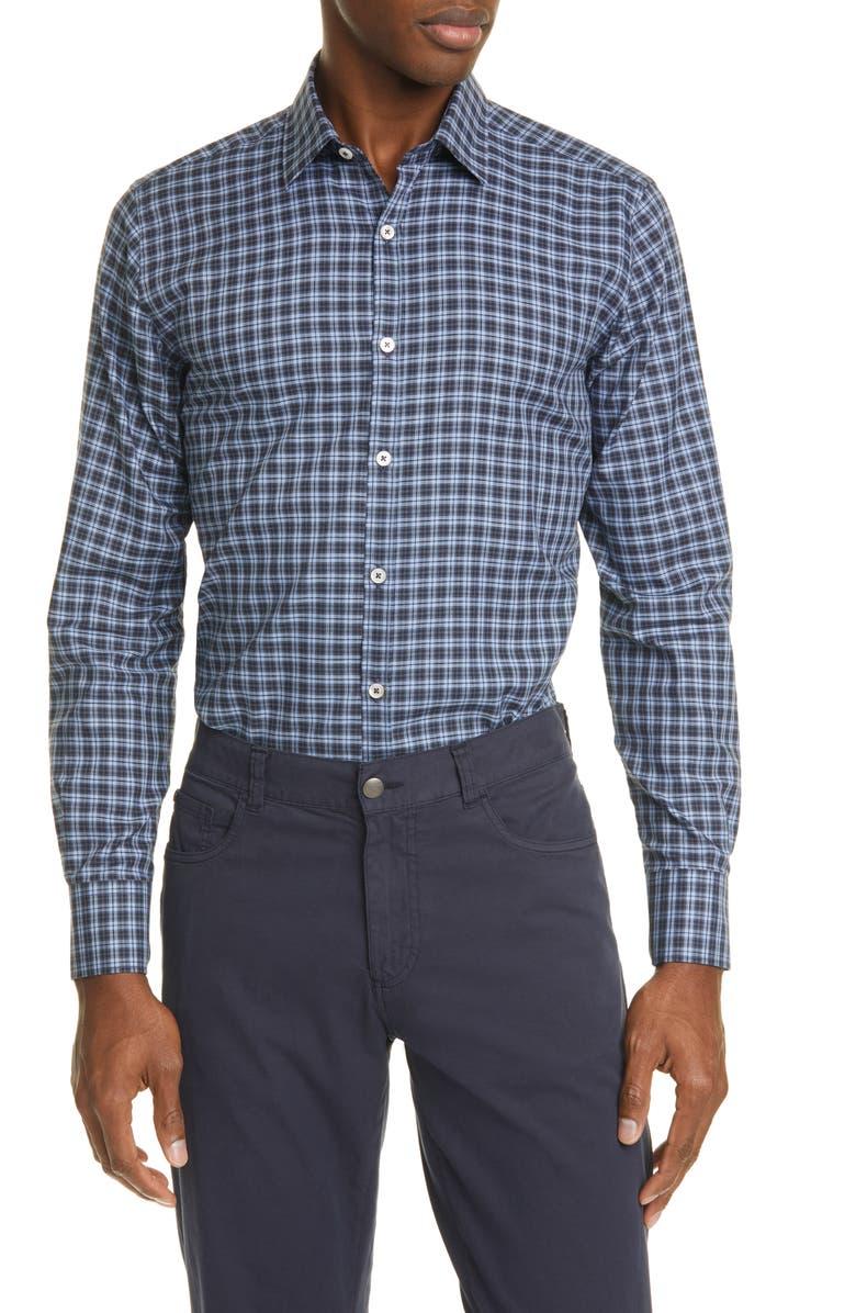 CANALI Classic Fit Plaid Button-Up Shirt, Main, color, 410