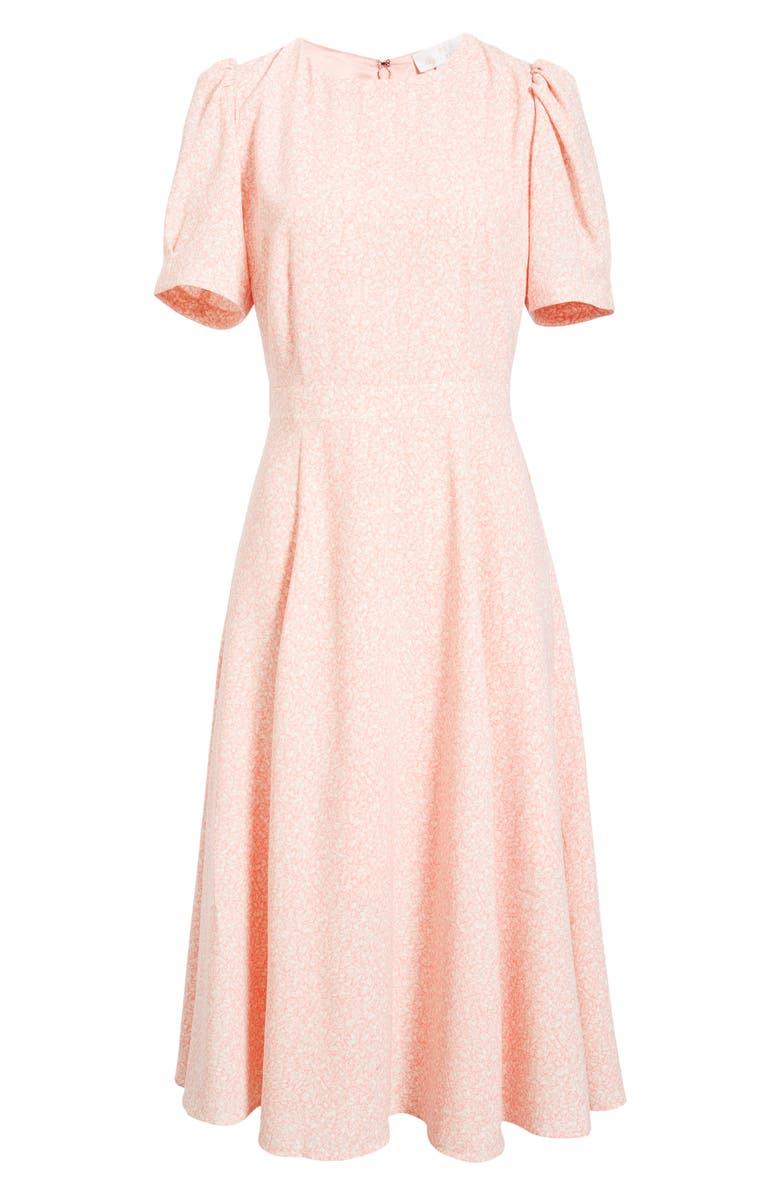 RACHEL PARCELL Puff Sleeve Crepe Midi Dress, Main, color, PINK QUARTZ LEAFY CLUSTER