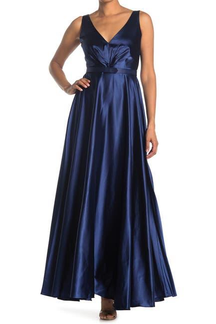 Image of Marina Satin V-Neck Gown