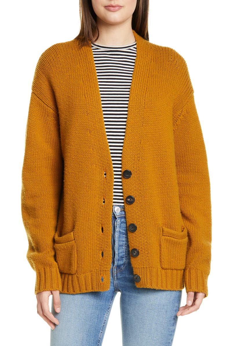 RE/DONE '90s Wool & Cashmere Cardigan, Main, color, DARK MUSTARD