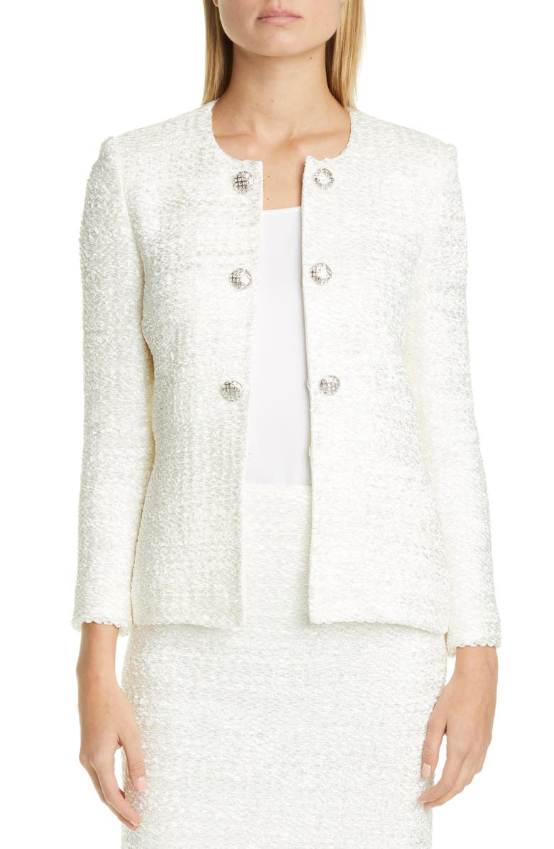 ST. JOHN EVENING Ribbon Couture Float Knit Jacket, Main, color, 100