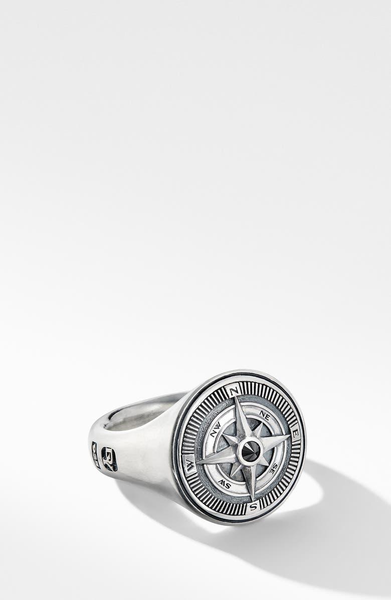 DAVID YURMAN Maritime<sup>®</sup> Compass Signet Ring with Center Black Diamond, Main, color, SILVER/ BLACK DIAMOND
