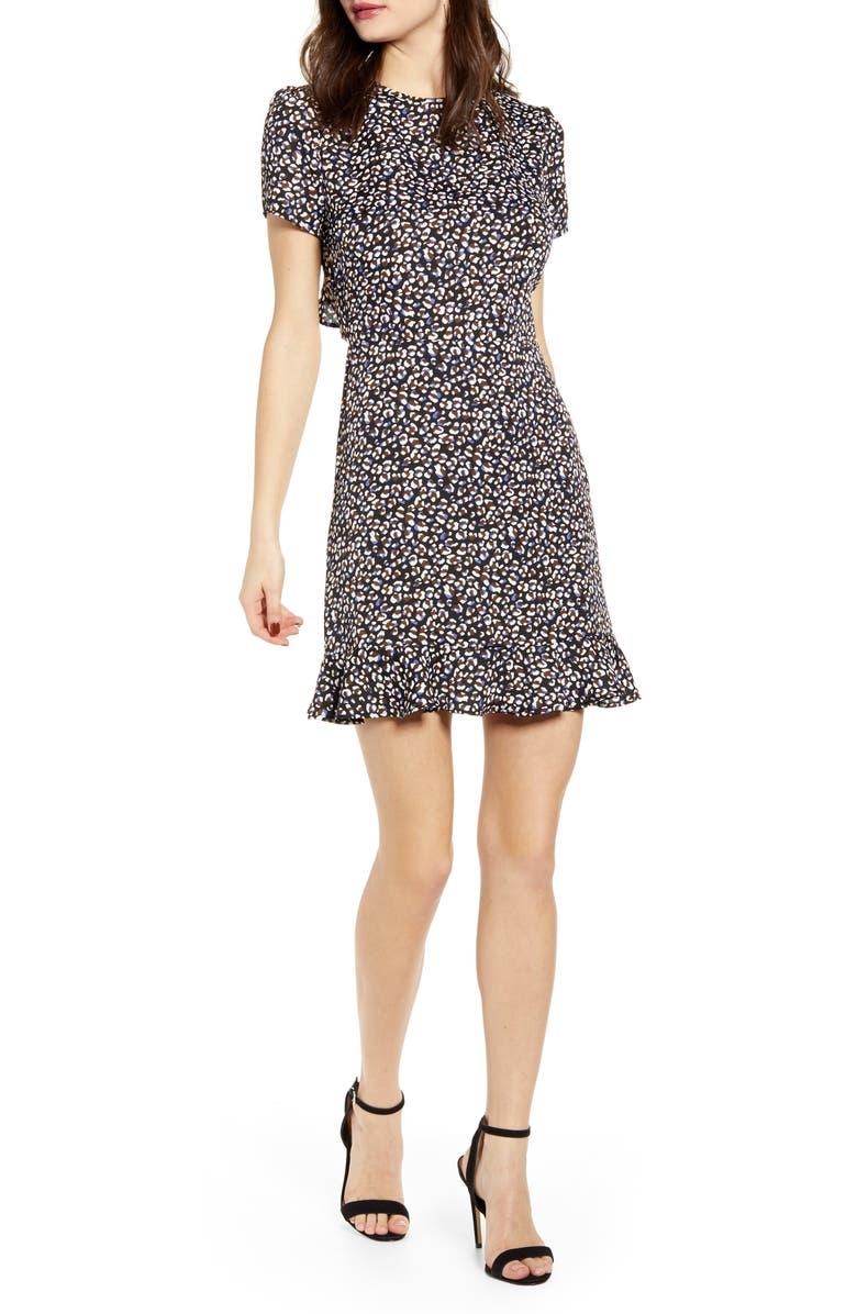 LEITH Ruffle Open Back Minidress, Main, color, NAVY PEACOAT MINI LEOPARD