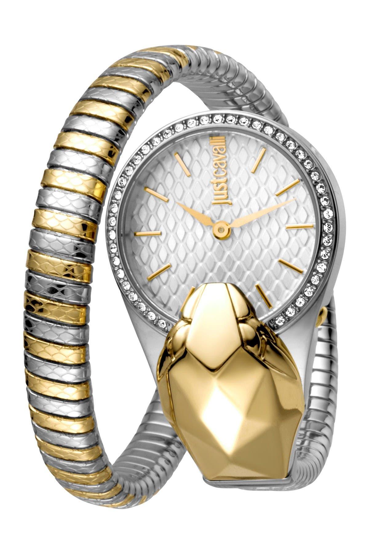Image of Roberto Cavalli Women's Glam Chic Snake Shape Wrap Bracelet Watch, 26mm
