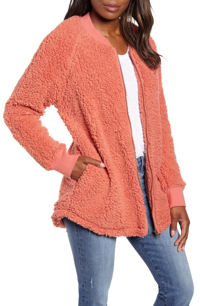 CASLON<SUP>®</SUP> Long Faux Fur Jacket, Main, color, PINK DESERT