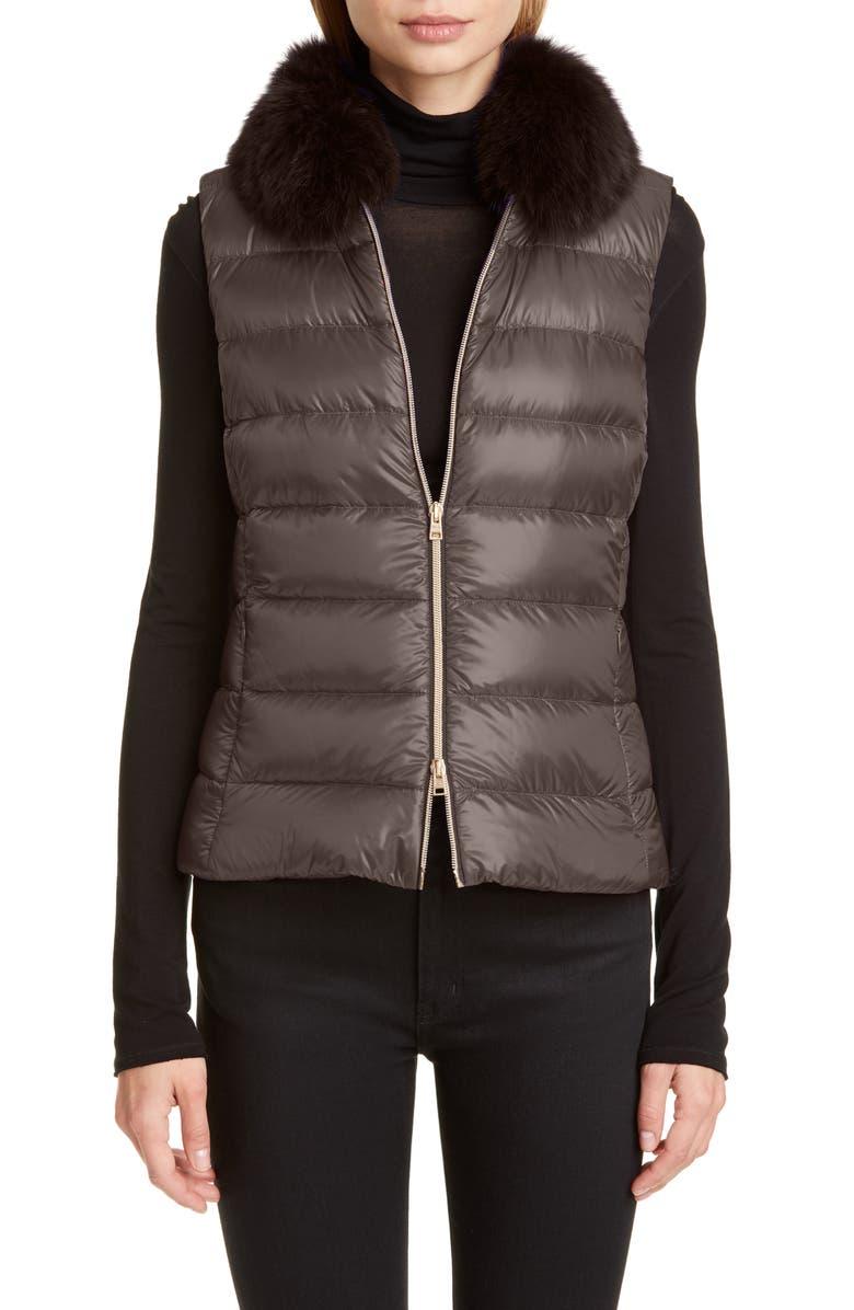 HERNO Genuine Fox Fur Collar Down Vest, Main, color, TAUPE