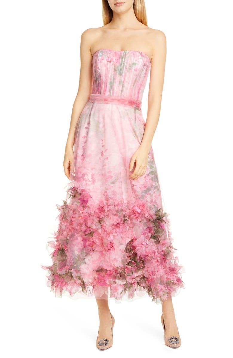 MARCHESA NOTTE Floral Appliqué Strapless Dress, Main, color, PINK