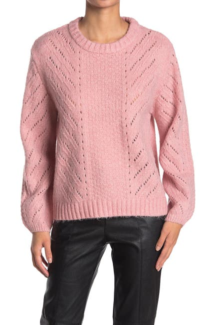 Image of Elodie Long Sleeve Pointelle Pullover