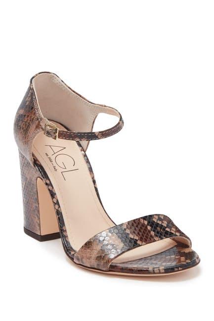 Image of AGL Snakeskin Embossed Leather Block Heel Sandal