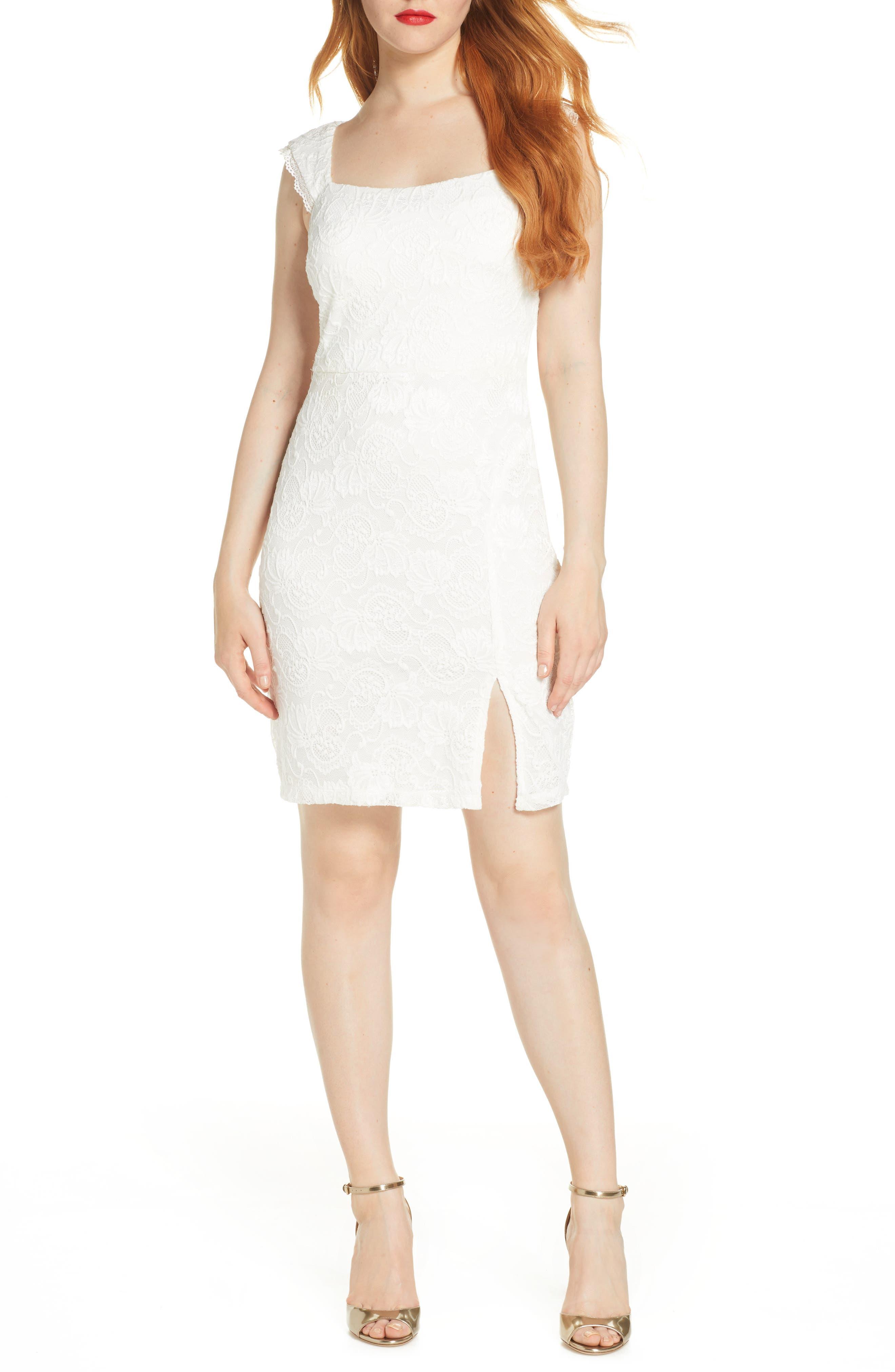 Sequin Hearts Lace Sheath Dress, White