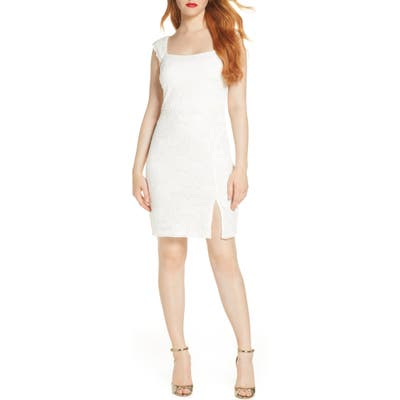 Sequin Hearts Lace Sheath Dress, White