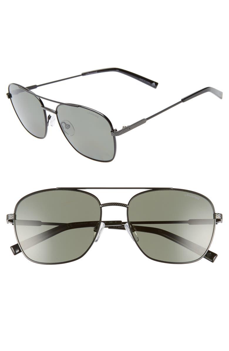 POLAROID 58mm Polarized Navigator Sunglasses, Main, color, BLACK